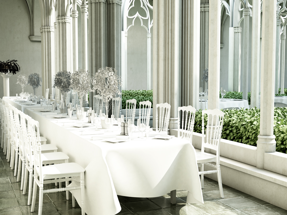 Napoleon white stack chair wedding